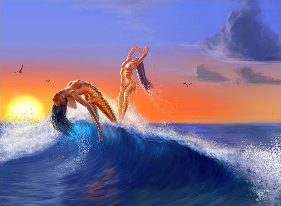 две русалки (океаниды) плещутся в волне
