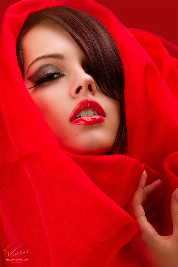 Glamour, beauty, fashion, portrait, lady in red