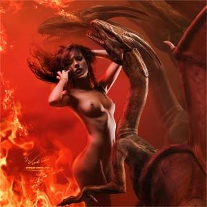 Фэнтези. Драконы и обнаженная прекрасная девушка.