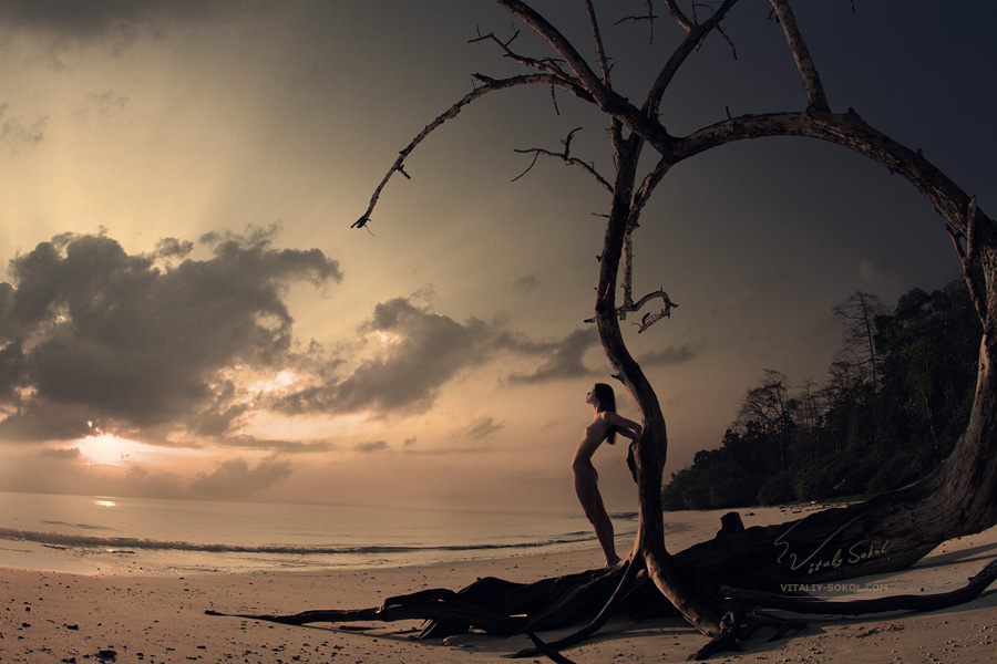 Havelock island, sunrise and beautiful naked model on the beach