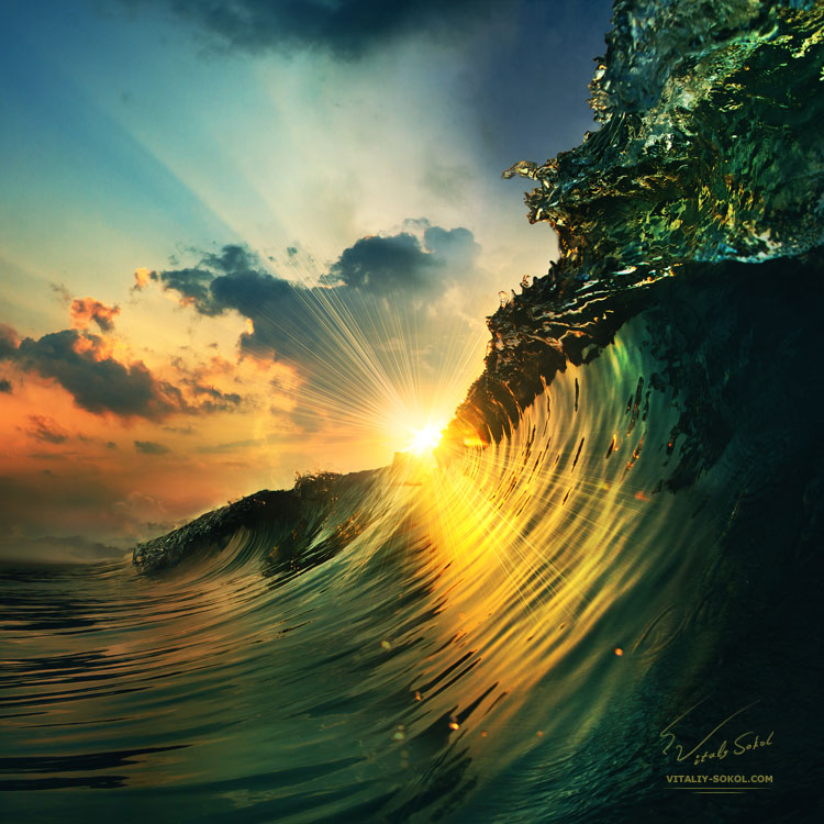 rough colored ocean wave breaking down and closing at the sunset time