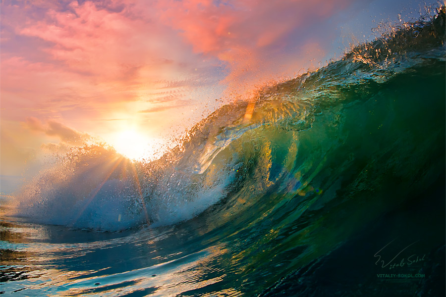 Beautiful ocean surfing shorebreak wave at sunset time