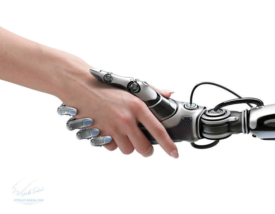 Cyber communication design concept. Female robot and human holding hands with handshake.