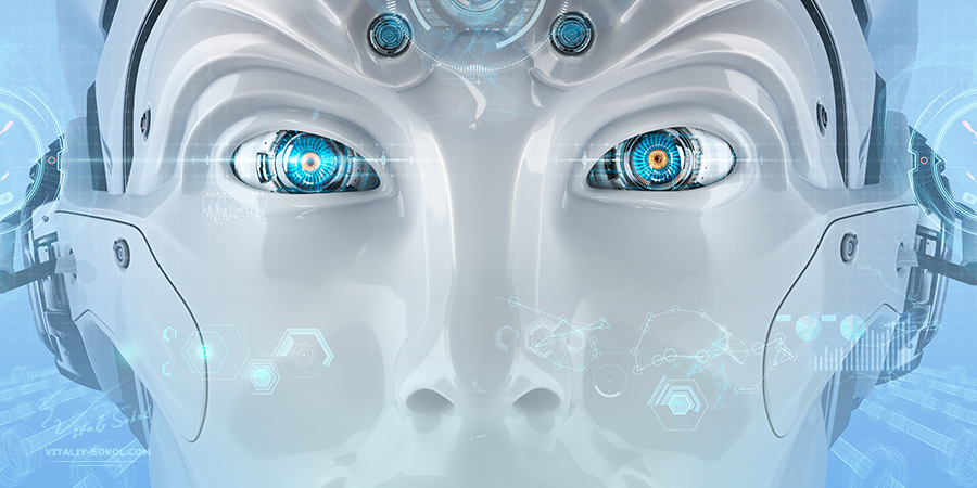 Closeup Robot's eyes. 3D Art by Vitaliy Sokol