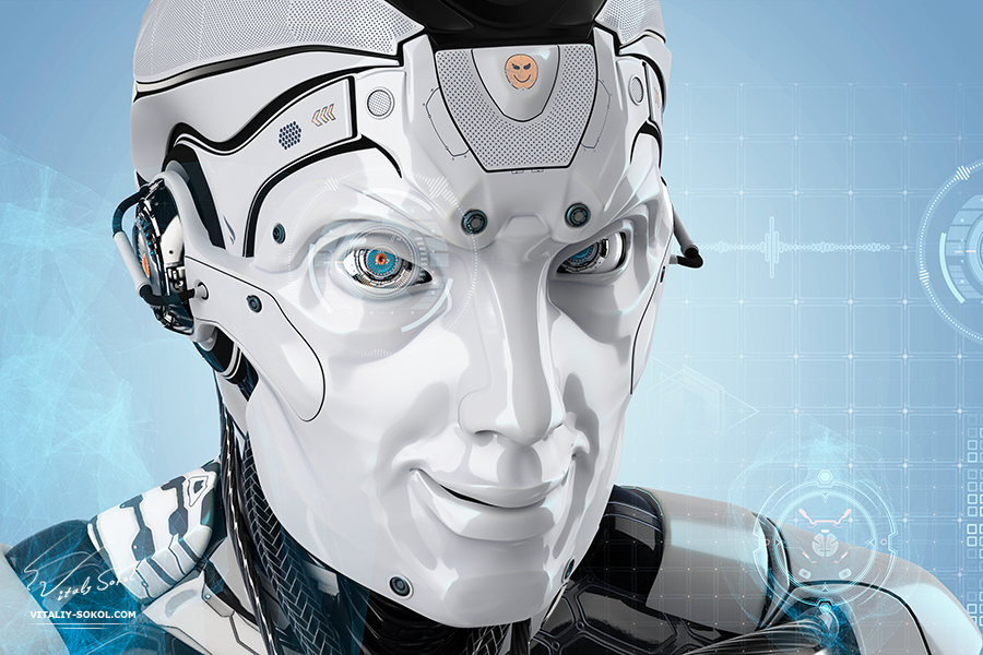 3D Robot by vitaliy Sokol: A male robot with smiling face. Futuristic background with virtual HUD icons for your design. Artificial good mood head of cybernetic creature. Closeup portrait