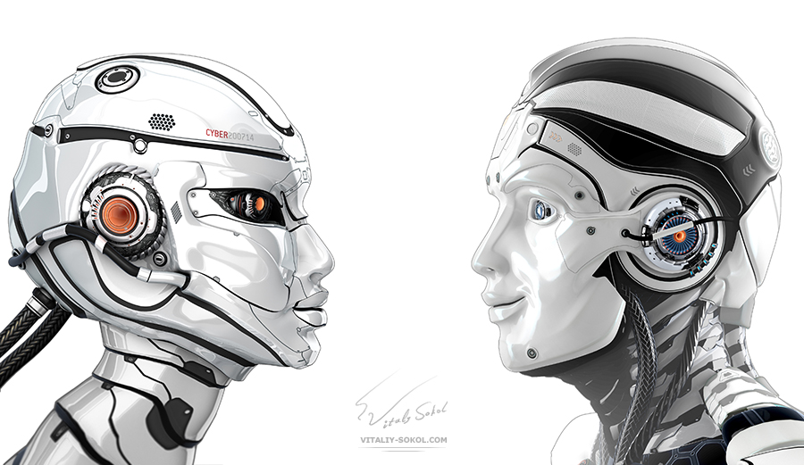 3D robots by Vitaliy Sokol: Good mood male robot and female bot looking to each other. Side view closeup portrait. White background for your design. Artificial face of cybernetic couple creatures.