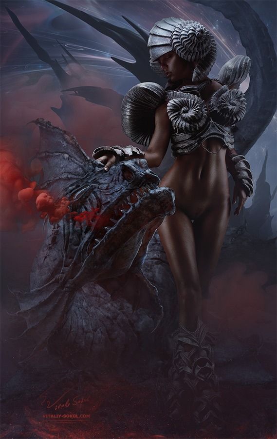 Naked sexy model with dragon. Art by Vitaliy Sokol