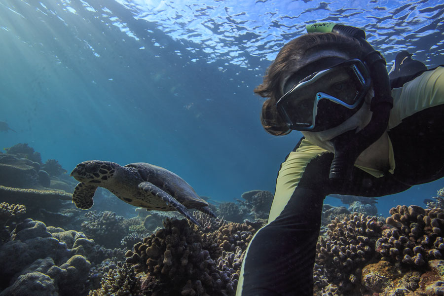 Freediver and sea turtle underwater selfie by Vitaly Sokol