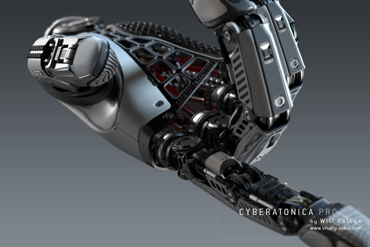 3D high detailed Robot arm made with blender