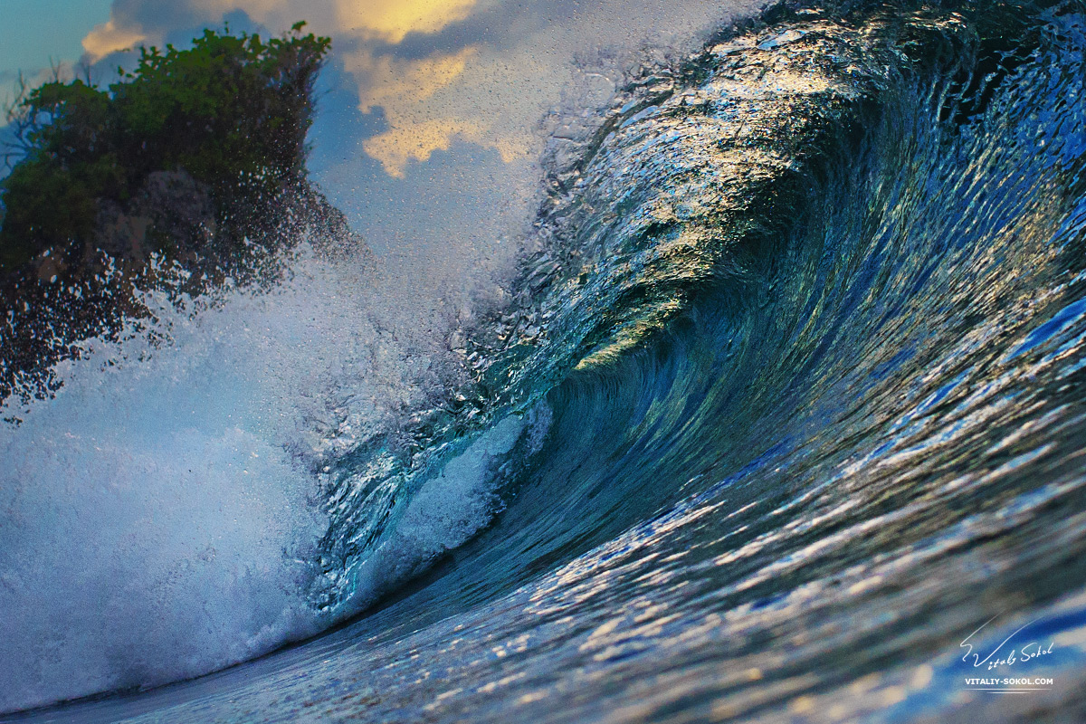 Beautiful Ocean Wave In Sunset Light