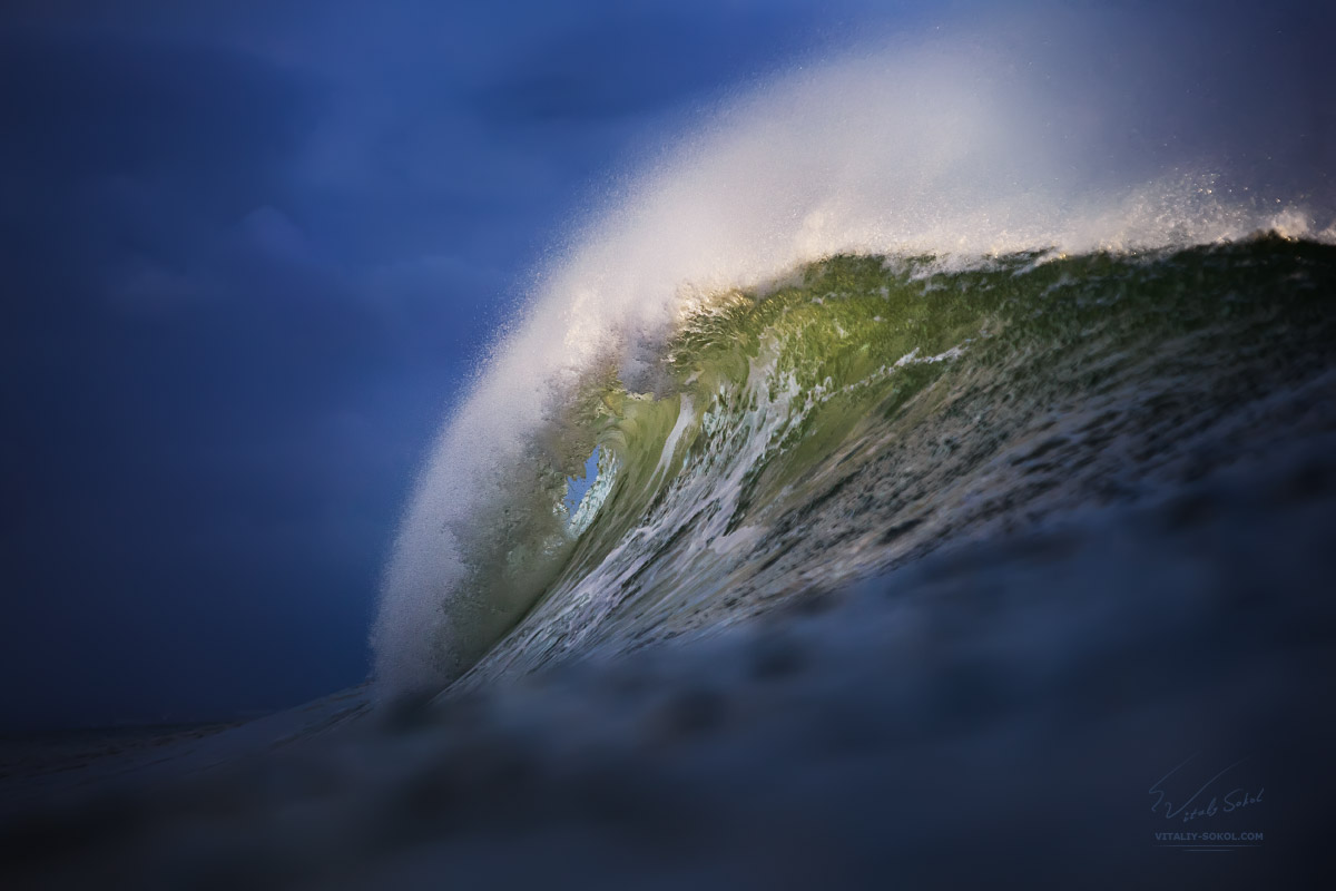 Big Beautiful green sunset ocean wave