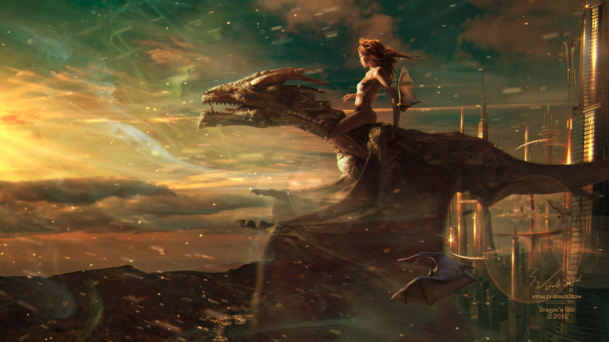 Naked Sexy Girl riding flying dragon on futuristic backgrounf