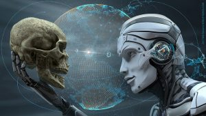 Robot face and Human skull
